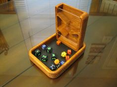 Dice tower Dice Tray combo by KWwoodCrafts on Etsy Diy Projects To Try, Wood Projects, Woodworking Projects, Dice Tower, Dungeons And Dragons Dice, Dice Box, Wood Crafts, Diy And Crafts, Diy Games