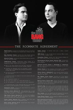 Big Bang Theory ~ Roommate Agreement Poster - The Clauses. Maybe a good bulletin board starter on how to make a good roommate agreement? The Big Theory, Big Bang Theory Funny, Big Bang Theory Quotes, Roommate Agreement, Movies And Series, Bubbline, Funny Illustration, My Tumblr, Bigbang
