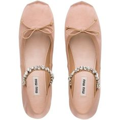 Miu Miu BALLERINA ($730) ❤ liked on Polyvore featuring shoes, flats, satin ballet shoes, miu miu, ballet shoes, bow flats and embellished shoes