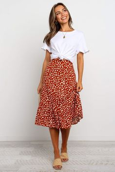 DETAILS midi length a-line skirt elasticised back waist ruffle hem partially lined styled with the Milo Tee - White also available in White and Navy SIZING model is 7 Modest Summer Outfits, Summer Outfits For Teens, Summer Teacher Outfits, Modest Casual Outfits, Summer Skirts, Modest Dresses, Teacher Dresses, Girls Weekend Outfits, Professional Summer Outfits