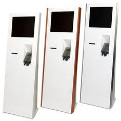 """Ticketing Kiosk Blade Slim 19"""" touch, retail kiosk with 80mm printer and unattended chip and pin unit with different bracket options for fitting into store. Large front for your branding and important calls to action with several finishes (plain, metal, coloured and 3 wood finishes). Further ruggedisation is available include bezel-free high IP rated touch screen and upgrades e.g. scanners, loyalty cards, cash, etc."""