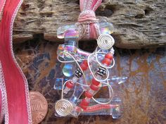 Wire Wrapped dichroic glass pendant in Pink  Ribbon $38 by Silvia Engel