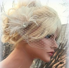 Check out this item in my Etsy shop https://www.etsy.com/listing/116952461/fascinator-bridal-veil-great-gatsby