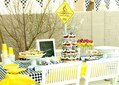 Bike Party Table:  Love the black-and-white checkers with yellow!