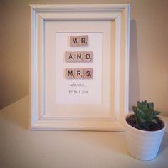 Mini Vintage Scrabble Art.  Wedding Mr & Mrs. Love You. Black White. on Etsy, £20.16