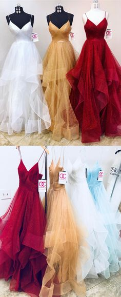 2018 long prom dresses, gorgeous straps prom dress, white long prom dress, champagne prom dress, red prom dress