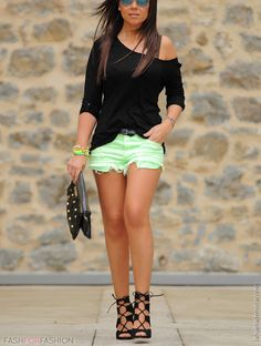 black + mint...love dressing up a pair of shorts with strappy heels and an off the shoulder shirt.