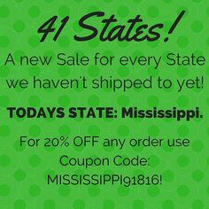 Every Day for the next 26 Days! We are going to post a different Sale for Each State we haven't shipped to! It's the perfect opportunity to get ready for Christmas! If you Know someone in Today's State please Share this post with them! My goal is to get all 50 States by the end of these 41 Days!  Day 18: Todays State is Mississippi! Receive 20% any order when you Use Coupon Code: MISSISSIPPI91816 at check out! Offer ends at midnight tonight!  Only at loomknittedhats.etsy.com!