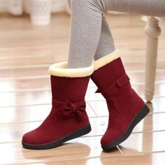 Women Boots Bowtie Mid Calf Boots Fur Winter Shoes Woman 2016 3511 Source by shoeulike shoes with jeans Fur Boots, Snow Boots, Winter Boots, Heeled Boots, Fall Winter, Cowgirl Boots, Winter Wear, Riding Boots, Mid Calf Boots