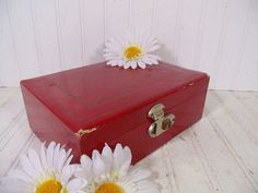 Vintage Burgundy Red Mitchell Jewelry Box - Retro Mele Style Display Case With…