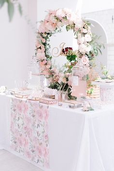 Dreamy girly decoration for a gorgeous baptism! Love the soft hues and the fresh flowers! LINK IN BIO  Photographer Christening Table Decorations, First Communion Decorations, First Communion Party, Baby Shower Decorations, Christening Party, Christening Invitations, Kids Party Themes, Baby 1st Birthday, Girl Decor