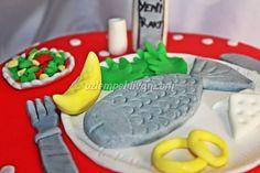 Rakı Balık ve Hoşgeldin Pastası #raki #balik #pasta #seker hamuru #fish #sugar paste #cake
