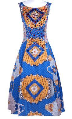 #SheInside Blue Sleeveless Geo Print Rhinestone Embellished Maxi Dress