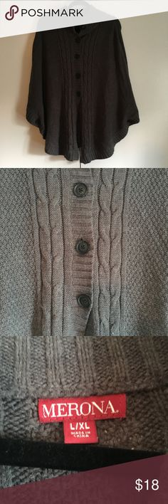 Merona Grey Sweater Poncho Size L/XL Grey Poncho is perfect for those cool fall days! Would look awesome with leggings or skinny jeans and black booties! Merona Sweaters Shrugs & Ponchos