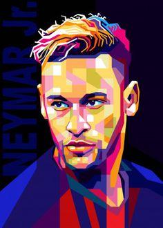 Neymar by Cholik Hamka Neymar Pic, Juventus Soccer, Neymar Football, Football Art, Soccer Art, Pop Art Posters, Poster Prints, Neymar Images, Flag Football