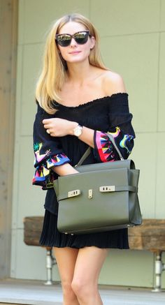 We love the sophistication her structured satchel adds to Olivia Palermo's overall look.