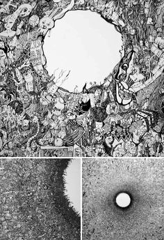 Sagaki Keita Japanese Artist. Drawings composed by numerous small characters, cartoons and shapes.