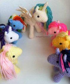 crocheted my little ponies and unicorns! #crochetgeekery