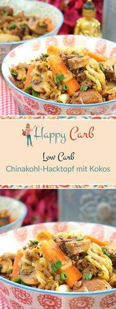 Chinakohl ist schnell zusammengeschnibbelt. Leckeres Putenhackfleisch mit viel Gemüse. Low Carb Rezepte von Happy Carb. https://happycarb.de/rezepte/fleisch/chinakohl-hacktopf-mit-kokos/