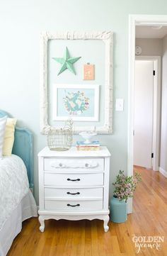 I painted this white nightstand when I was making over my daughter's room. All the colors were getting to be a bit much, so I painted the nightstand white to calm the room down a bit. Big Girl Bedrooms, Little Girl Rooms, Girls Bedroom, Bedroom Ideas, Dream Bedroom, White Nightstand, Dresser As Nightstand, Nightstands, White End Tables