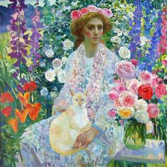 This garden painting of is a colouristic and floral celebration. This work is reminiscent of both the Impressionists and Gustav Klimt. Paintings I Love, Beautiful Paintings, Russian Art, Russian Painting, Illustrations, Kirigami, Figurative Art, Cat Art, Painting Inspiration