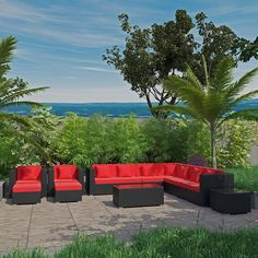 Modway Cohesion 11 Piece Outdoor Patio Sectional Set in Espresso Red Patio Side Table, Star Wars, Outdoor Furniture Sets, Outdoor Decor, Cushion Fabric, Outdoor Gardens, Restoration, Espresso, Places