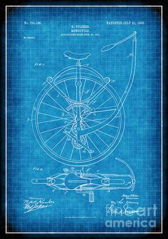 1903 monocycle patent drawing in white lines on blue background