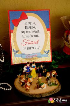 Pretty welcome sign at a Snow White birthday party! See more party planning ideas at CatchMyParty.com!