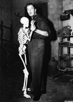 Vincent Price, being cooler than any of us can ever dream of being.  morbidlyfabulous:    Vincent Price on the set of House on Haunted Hill (1959)