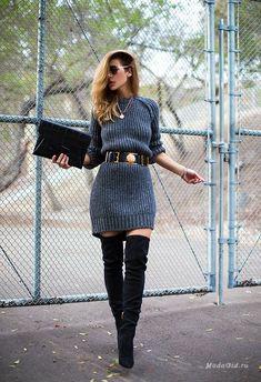 Уличная мода: 30 модных образов с ботфортами на весну 2015