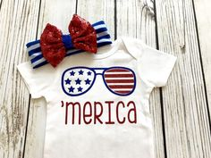 Merica Baby Girl Red White And Blue Bodysuit Outfit 4th Of July by ClovisAvenueDesigns on Etsy https://www.etsy.com/listing/508851449/merica-baby-girl-red-white-and-blue