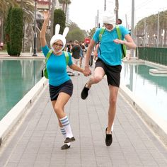 Fionna and Finn (Adventure Time) cosplay! Cute couple costume!