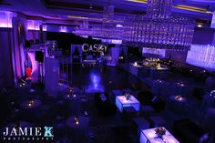 Purple lit room in The Grand Ballroom at special event venue-The Grove in Cedar Grove, New Jersey. Wedding venue New Jersey, catering hall New Jersey, banquet hall New Jersey, Galas NJ, Corporate NJ,Bat Mitzvah NJ, Bar Mitzvah NJ, Kosher NJ, Glatt Kosher NJ,   www.thegrovenj.com