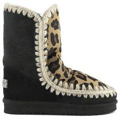 Mou Eskimo 24 Limited Edition Short Boots Women Black/Front Leopard Choco - MOU #mou #mouboots #lovemou