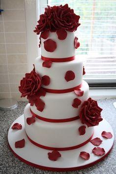 Rose Cake~                                 by nadia.onatsko, red, 4 tier, round