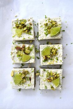 Raw Pistachio Coconut Lime Slices More Cheesecake Bar, Cheesecake Recipe, Raw Vegan Raw pistachio, coconut and lime cheesecake bars. Desserts Crus, Raw Vegan Desserts, Vegan Sweets, Healthy Sweets, Raw Food Recipes, Sweet Recipes, Delicious Desserts, Cooking Recipes, Yummy Food