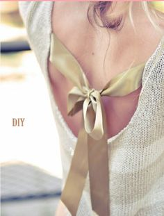 DIY Backless Ribbon Bow Sweater #Fashion #Trusper #Tip