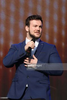 Richard Hadfield from Collabro performs at the Barclaycard British Summertime gigs at Hyde Park on June 28, 2015 in London, England.