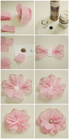 I saw a picture of a glittery pink flower and decided I needed to figure out how to make a one for myself. Here are the step by step (mostly) pictures and directions: (click on picture to see it in...