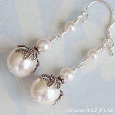 Pearl Bridal Earrings, Antique Vintage Style Ivory or White Wedding Earrings, Bridesmaid Pearl Drop Earrings, Weddings, Sterling Silver