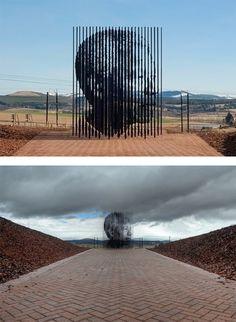 """Monumento a Nelson Mandela por Marco Cianfanelli    """"Release"""" es una escultura monumental creada por el artista sudafricano Cianfanelli Marco como un homenaje a Nelson Mandela en el 50 aniversario de su captura por la policía del apartheid en 1962."""