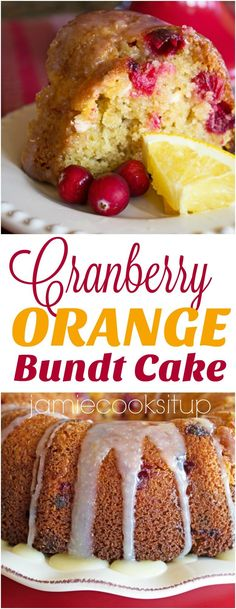 Cranberry Orange Bundt Cake from Jamie Cooks It Up!