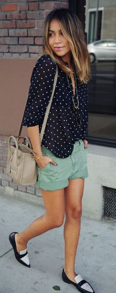 Shoes: loafers bicolor polka dots shorts green black white streetstyle outfit idea summer laidback