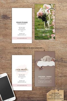 Trendy, distinctive business card template for photographers, event planners, coordinators..