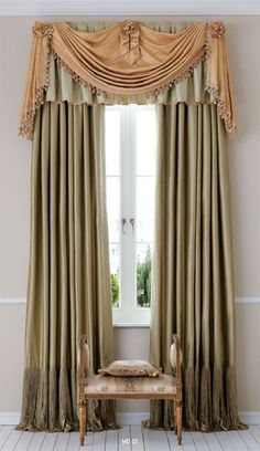 23 Gold Curtains: Diversity in Use Gold Curtains, Modern Curtains, Window Drapes, Window Coverings, Room Window, Rideaux Design, Drapery Designs, Curtain Styles, Curtain Ideas