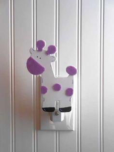 Giraffe Night Light  Purple Nursery Decor  Night by LaurenAnnaLei