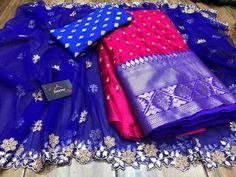 Designer Party Wear Dresses, Indian Designer Outfits, Half Saree Designs, Blouse Designs, Mirror Work Blouse Design, Half Saree Lehenga, Long Dress Design, Book Flowers, Brocade Blouses