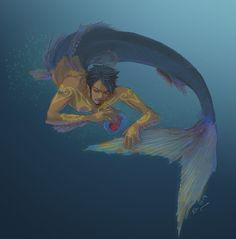 "Randomly found this under ""Amazing merman"" but it's Trafalgar Law! Male Mermaid, Mermaid Man, Siren Mermaid, Mythological Creatures, Fantasy Creatures, Mythical Creatures, Fantasy Mermaids, Mermaids And Mermen, Character Inspiration"