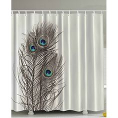 "Custom Waterproof Fabric Bathroom Hipster Peacocks Feathers Shower Curtain 66"" x 72"""
