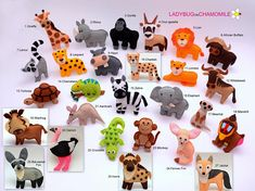AFRIKANISCHE TIERE. SAFARI Tiere. Nette Miniatur-dekorative Gegenstände aus buntem Filzgewebe. Diese gefüllten Gegenstände sind ursprünglich als eine große Wohndekor oder entzückende Geschenke für Ihre geliebten entworfen, pädagogisch für Kinder, Spaß für alle Altersgruppen. (Der